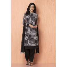 AC-90 BLACK AND WHITE GEORGETTE AND AMERICAN CREPE PAKISTANI STYLE READY TO WEAR SUIT