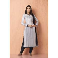 AC-99 OFF WHITE AND NAVY BLUE CRINKLE RAYON, AMERICAN CRAPE AND CHIFFON READY MADE SUIT
