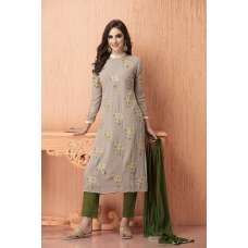 AC-106 GREY AND GREEN GEORGETTE AND CHIFFON READY TO WEAR SUIT