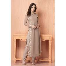 AC-107 BEIGE GEORGETTE, CHIFFON AND AMERICAN CRAPE READY MADE SUIT
