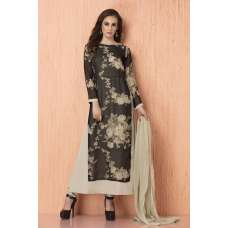 AC-109 BLACK GEORGETTE, CHIFFON AND AMERICAN CRAPE PRINTED READY MADE SUIT