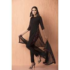 AC-116 BLACK GEORGETTE AND CREPE READY MADE CHURIDAR SUIT