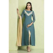 AC-120 BLUE AND GOLDEN CHIFFON, GEORGETTE AND JUTE READY TO WEAR SUIT
