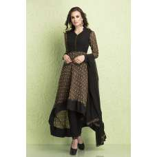 AC-125 BLACK GEORGETTE AND AMERICAN CREPE SKATER STYLE READY MADE SUIT