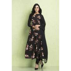 AC-128 BLACK CREPE AND CHIFFON PRINTED READY MADE SALWAR SUIT