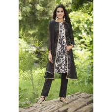 AC-140 BLACK JACKET STYLE PRINTED READY MADE DRESS