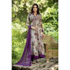 AC-144 GREY AND PURPLE CHIFFON FLORAL PRINTED READY MADE DRESS