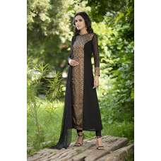 AC-145 BLACK STRAIGHT GEORGETTE READY MADE DRESS