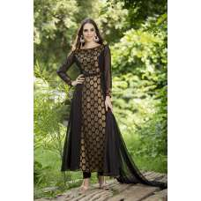 AC-146 BLACK GEORGETTE EMBROIDERED READY MADE WEDDING WEAR DRESS