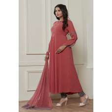 ROSE PINK TRENDY FULL FLARED READY MADE DRESS