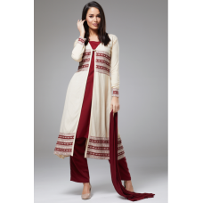 Cream Maroon Cape Jacket Dress Suit