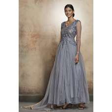 DAZZLING GREY LONG SHEER STYLE READY MADE INDIAN DRESS