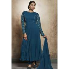 PEACOCK BLUE GEORGETTE READY MADE FROCK STYLE DRESS