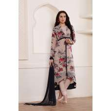 LOVELY JACKET STYLE FLORAL PRINTED PAKISTANI STYLE DRESS