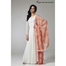 STUNNING OFF WHITE FLARED GEORGETTE READY TO WEAR DRESS