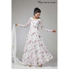 WHITE FLORAL LONG LENGTH READY MADE ANARKALI SUIT