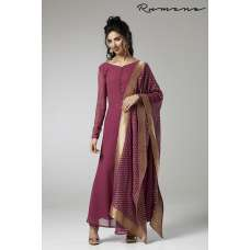 PLUM CIRCULAR FLARED READY MADE DRESS