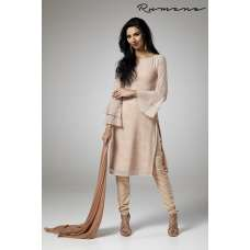 BEIGE GEORGETTE PARTY WEAR READY MADE CHURIDAAR SUIT
