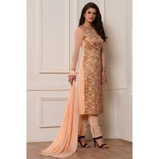 PEACH SMART AND STYLISH STRAIGHT DESIGNER READY MADE SUIT