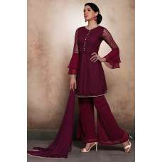 PLUM ASIAN WEDDING WEAR READY MADE PALAZZO STYLE SUIT