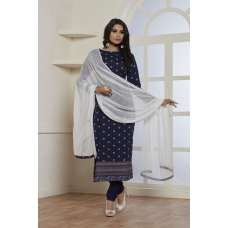 BEAUTIFUL NAVY BLUE PRINTED STRAIGHT CUT READY MADE SALWAR SUIT