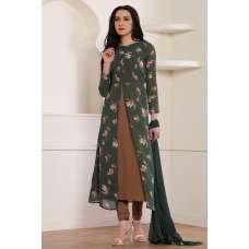 GREEN AND BROWN SLIT STYLE READY MADE DRESS