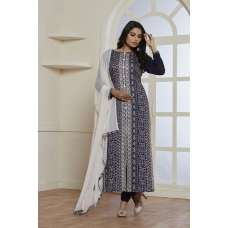 NAVY BLUE SLIT STYLE READY MADE CHURIDAR SUIT