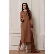 BROWN EMBROIDERED CUT WORK BORDERS READY MADE SALWAR SUIT