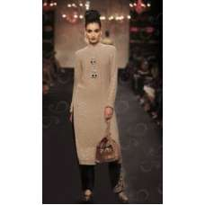BEIGE AND BLACK STRAIGHT CUT READY MADE PAKISTANI STYLE SALWAR SUIT