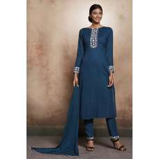 BLUE STRAIGHT READY MADE SALWAR SUIT