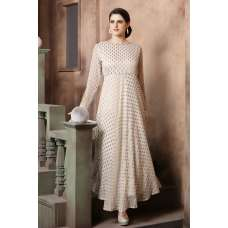 OFF WHITE STYLISH FLARED READY MADE ANARKALI DRESS