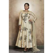 BEIGE ROYAL FLARED READY MADE FROCK STYLE DRESS