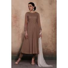 BROWN ETHNIC WEAR READY MADE FROCK STYLE DRESS