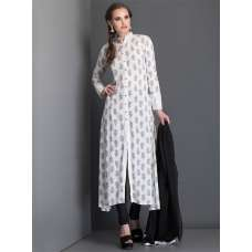 OFF WHITE BLOCK PRINT SLIT STYLE KURT AND CHURIDAAR READY MADE SUIT