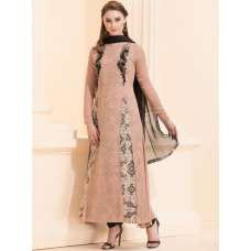 BROWN INNER PRINTED LONG LENGTH MAXI STYLE DRESS