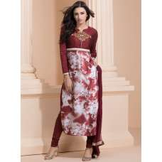 MAROON EMBROIDERED BODICE WITH PRINTED LOWER CHURIDAAR SUIT