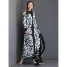 BLACK AND WHITE PRINTED JACKET STYLE LONG LENGTH MAXI DRESS