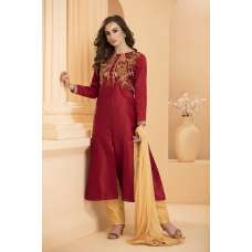 AC-166 MAROON AND YELLOW READY MADE INDIAN PARTY WEAR SUIT