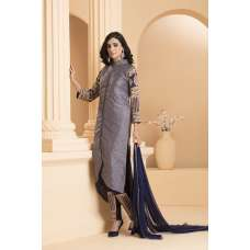 AC-171 GREY DUPION SHIRT AND BLUE TROUSER READY MADE INDIAN STYLE SUIT