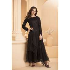 AC-173 BLACK  NET FULLY EMBROIDERED MAXI STYLE READY MADE SUIT
