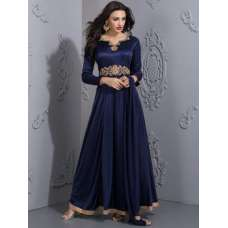 NAVY BLUE GOWN READYMADE WITH GOLD EMBROIDARY SUIT