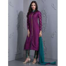 STYLISH PURPLE READYMADE SUIT WITH CONTRAST CAPRI TROUSERS