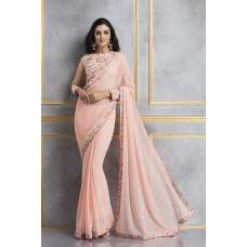 ACS-62 PEACH GEORGETTE AND NET EMBROIDERED PARTY WEAR SUIT