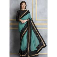 ACS-67 RAMA AND BLACK GEORGETTE AND LACE NET PARTY WEAR SAREE