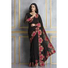 ACS-69 BLACK GEORGETTE EMBROIDERED INDIAN PARTY WEAR SAREE