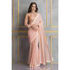 ACS-71 PEACH GEORGETTE AND EMBROIDERED NET WEDDING WEAR SAREE