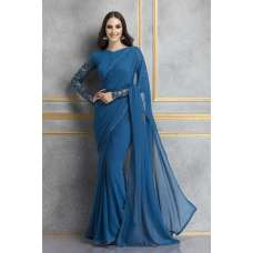 ACS-73 BLUE GEORGETTE FULL SLEEVES PARTY WEAR SAREE