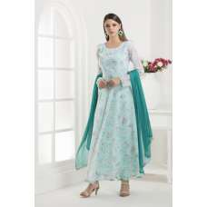 AQUA MARINE FLORAL PRINTED LONG ANARKALI READY MADE SUIT