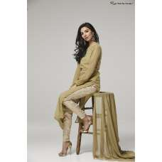 BEIGE STRAIGHT SHIRT AND BROCADE TROUSER READY TO WEAR EID SUIT