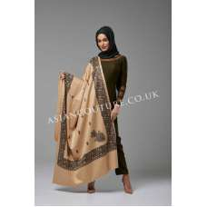 MEHNDI GREEN AND BEIGE WINTER WEAR READY MADE OUTFIT WITH SHAWL